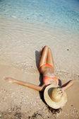 Female sunbathing — Stock Photo