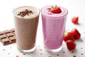Milk-shake de chocolate e morango — Foto Stock