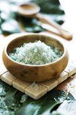 Bath-salt, oil, volcanic rock, natural sponge — Stock Photo