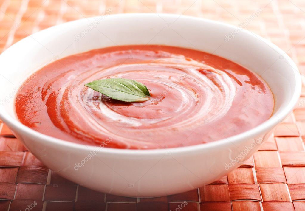 Creamy tomato soup with basil leaves as garnish — Stock ... Cream Of Tomato Soup With Garnish