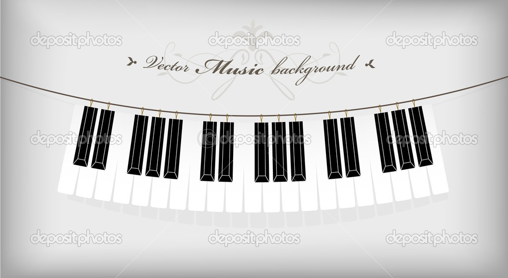 Hanging piano keyboard with place for your text. — Stock Vector #6297524