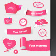 Set of pink labels, stickers. — Stock Vector