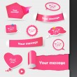 Set of pink labels, stickers. - Stock Vector