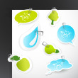 Set of blue green stickers. - Stock Vector