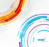 Abstratos círculos futuristas de vermelhos e azuis. — Vetorial Stock