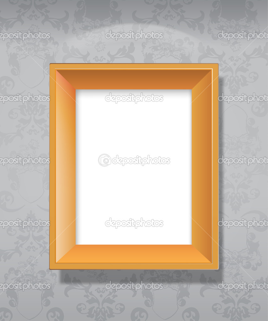 Empty wooden picture frame hanging on wall  - Stock IllustrationEmpty Picture Frame On Wall