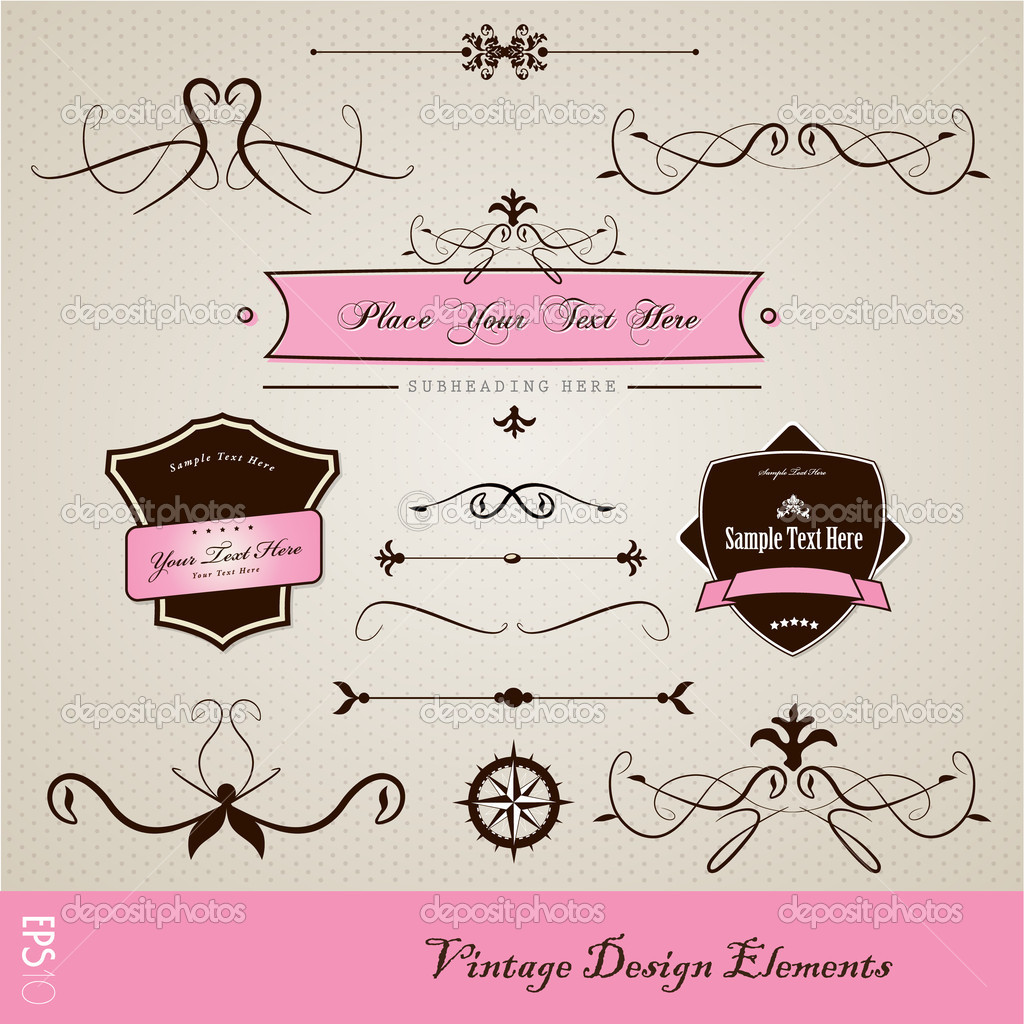 Set of vintage design elements. — Stock Vector #6315944