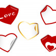 Stock Vector: Heart shape set of stickers.