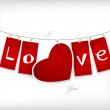 Valentine hanging labels. - Stock Vector