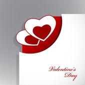 Coin du papier avec valentin coeurs. — Vecteur