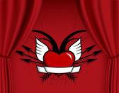 箭头和翅膀的心. — 图库矢量图片