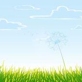 草甸与多云的天空. — 图库矢量图片