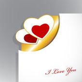Hoek van papier met valentijnsdag hart. — Stockvector