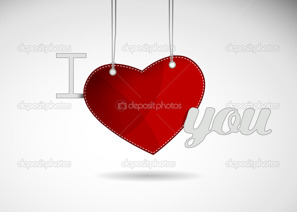 Valentine heart hanging label. — Stock Vector #6360354