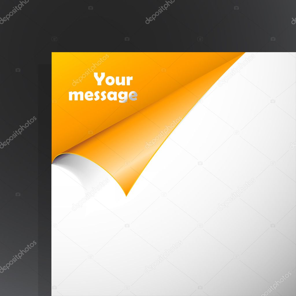 Paper with orange corner and place for your text. — Stock Vector #6360381
