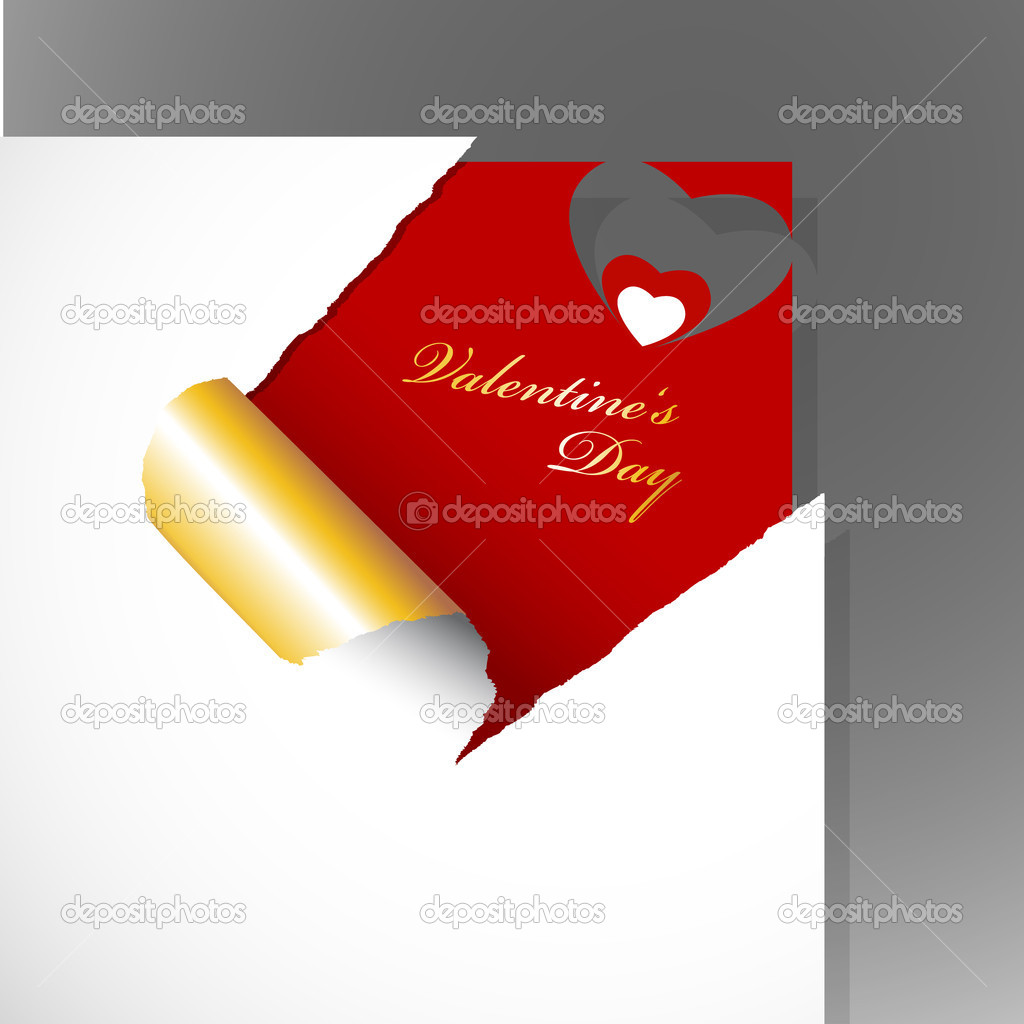 Corner with teared paper for Valentine's day. — Stock Vector #6360483