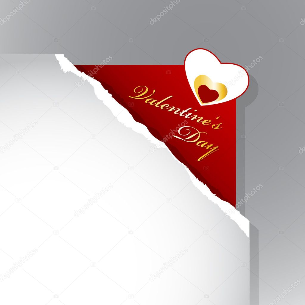 Corner with teared paper for Valentine's day. — Stock Vector #6360490