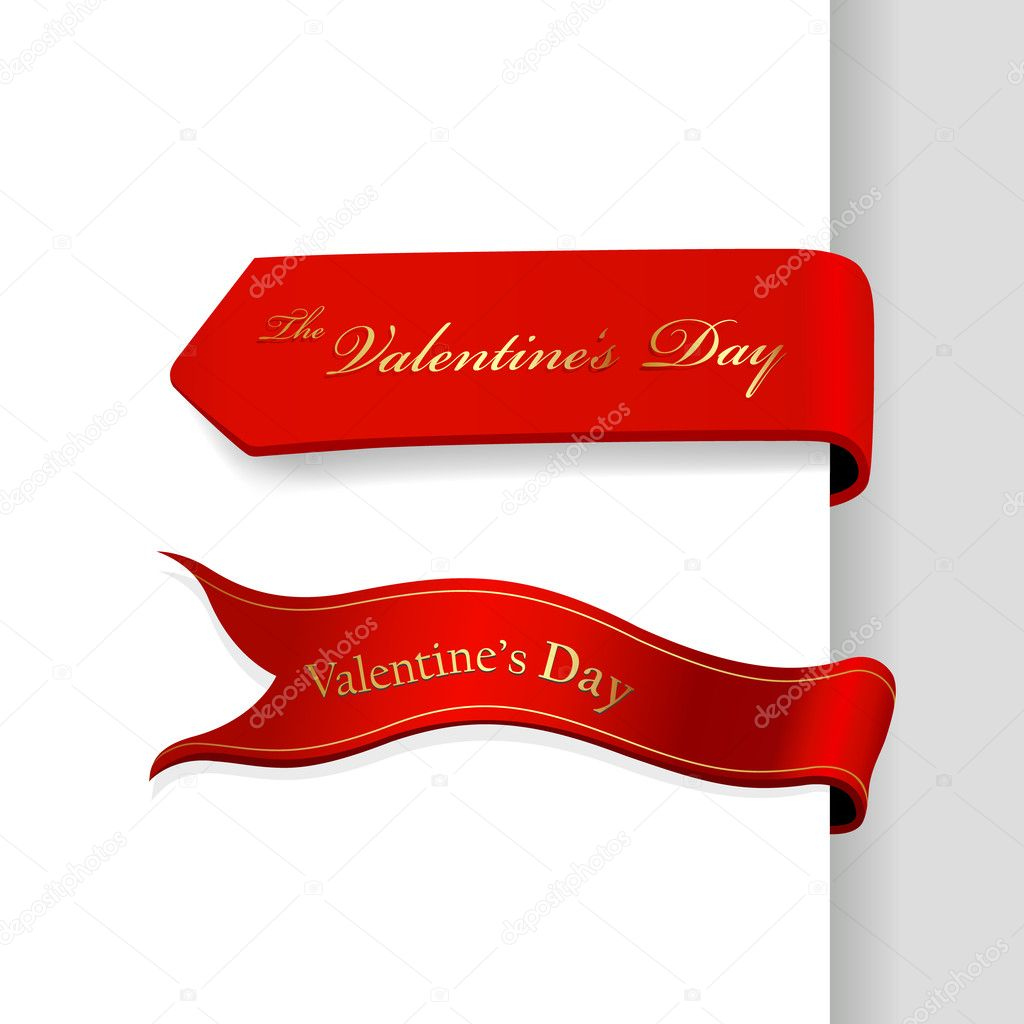Set of Valentine's Day ribbons.  Stock Vector #6360502