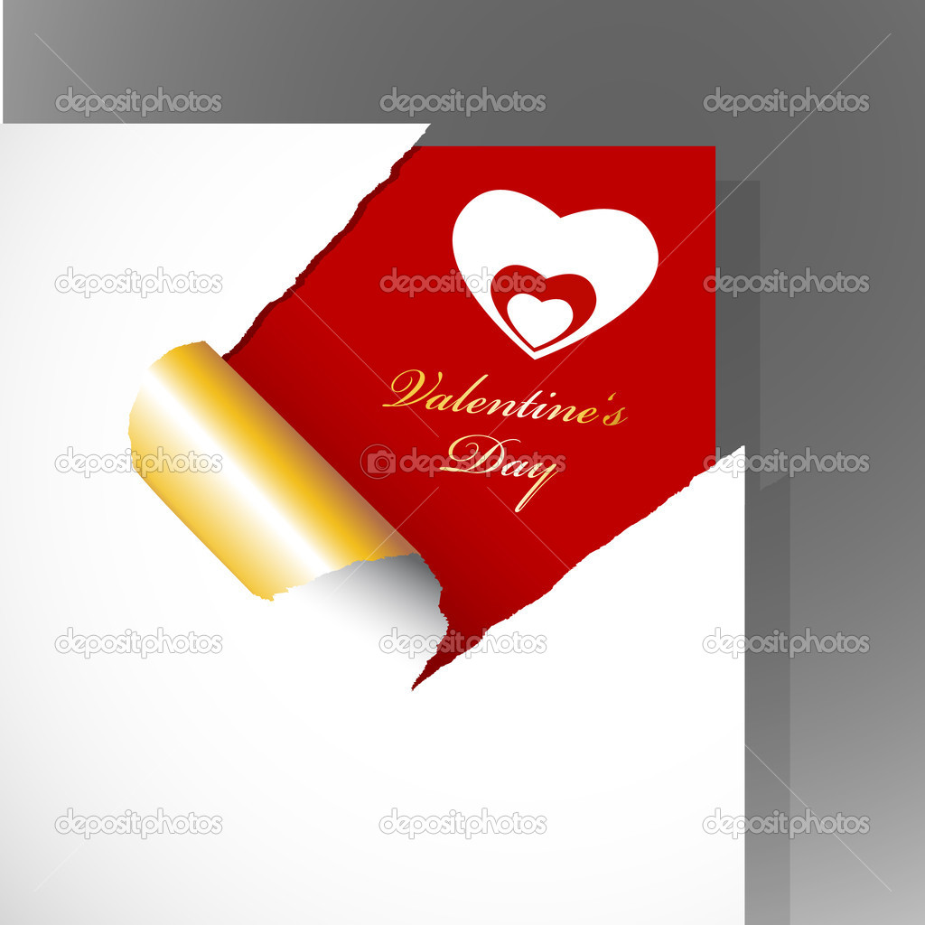 Corner with teared paper for Valentine's day. — Stock Vector #6360532