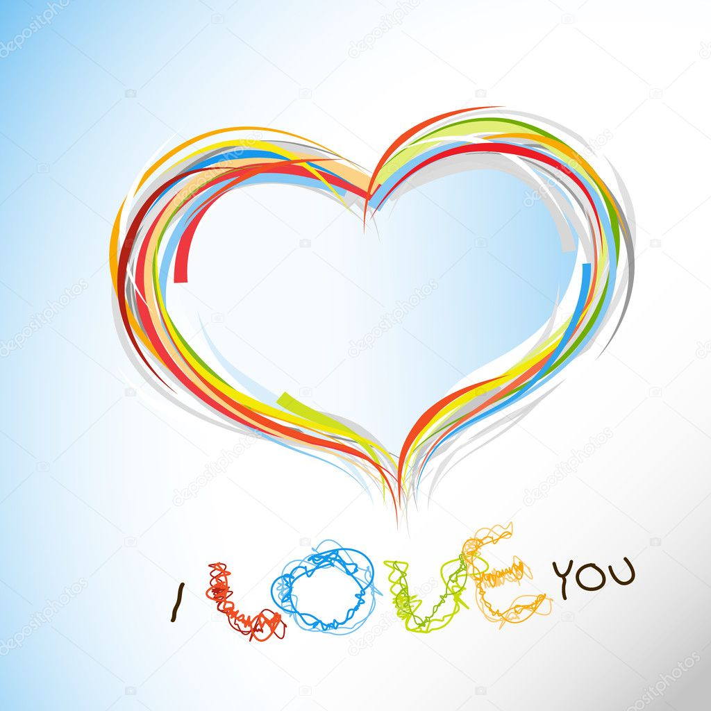 Valentine heart from colorful lines. — Imagen vectorial #6360542