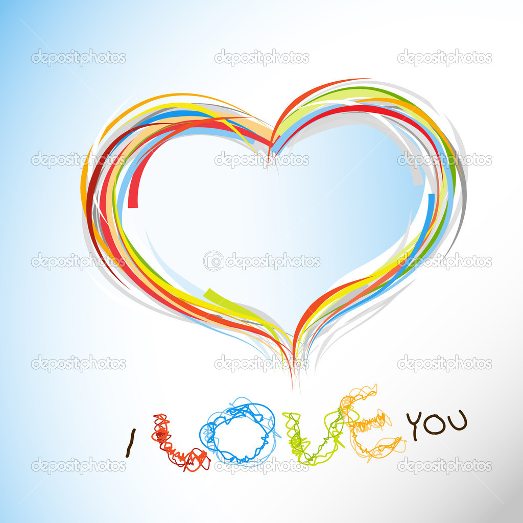 Valentine heart from colorful lines. — Image vectorielle #6360542