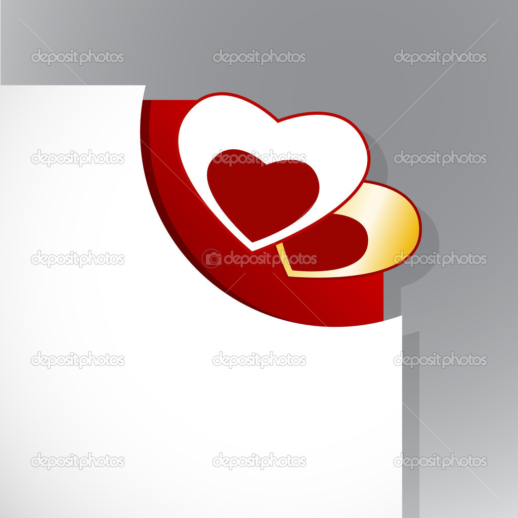 Corner of paper with Valentine's day hearts. — Stockvectorbeeld #6360546