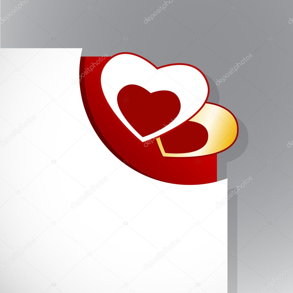 Corner of paper with Valentine's day hearts. — Imagen vectorial #6360546