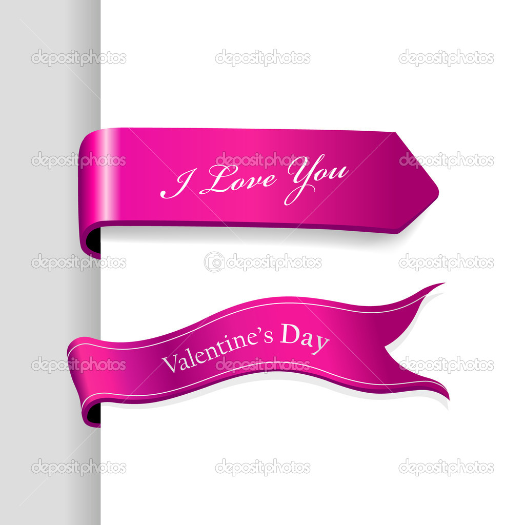 Set of Valentine's Day ribbons. — ベクター素材ストック #6360548