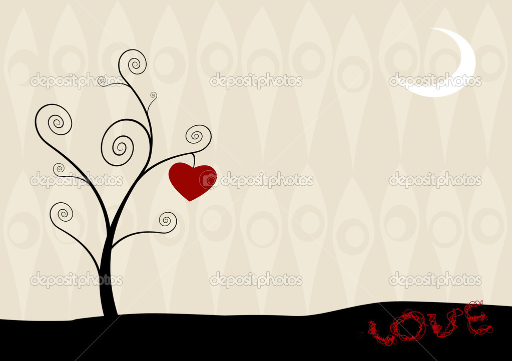 Cartoon tree with hanging heart. — Stock Vector #6360549