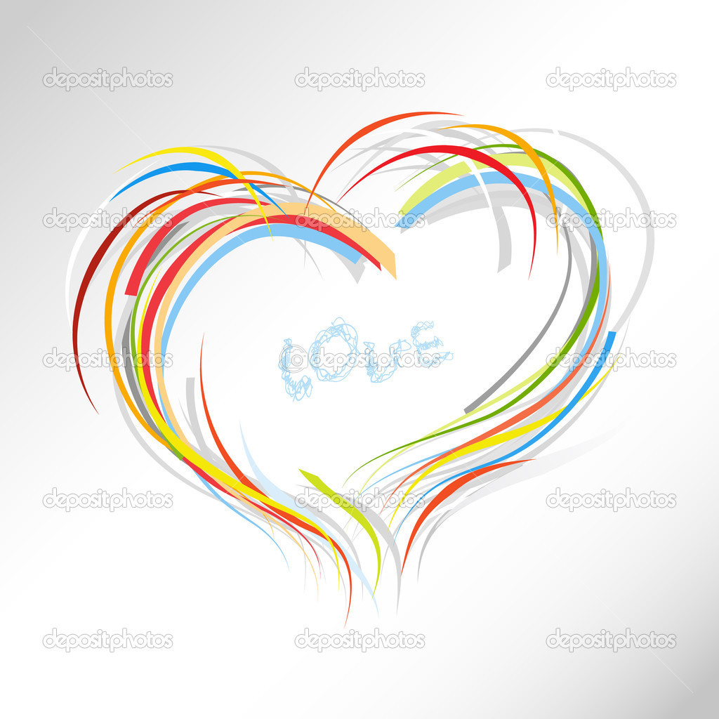 Valentine heart from colorful lines. — Stock Vector #6360565