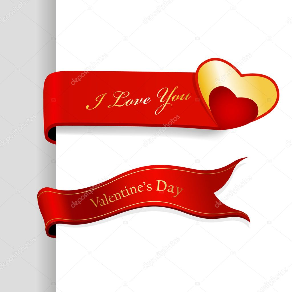 Set of Valentine's Day ribbons.  Stock Vector #6360566