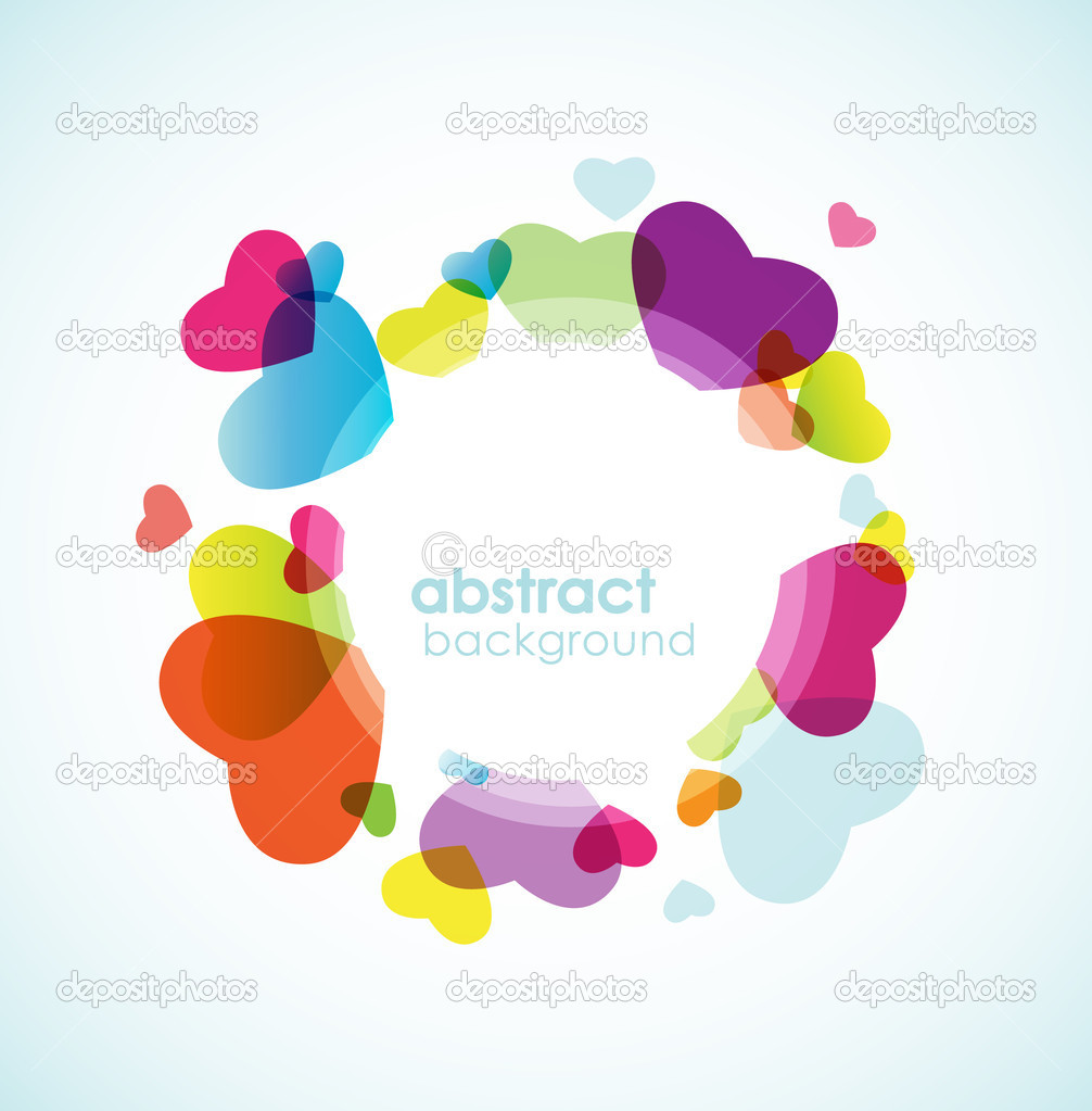 Colorful hearts in circle. — Imagen vectorial #6360590