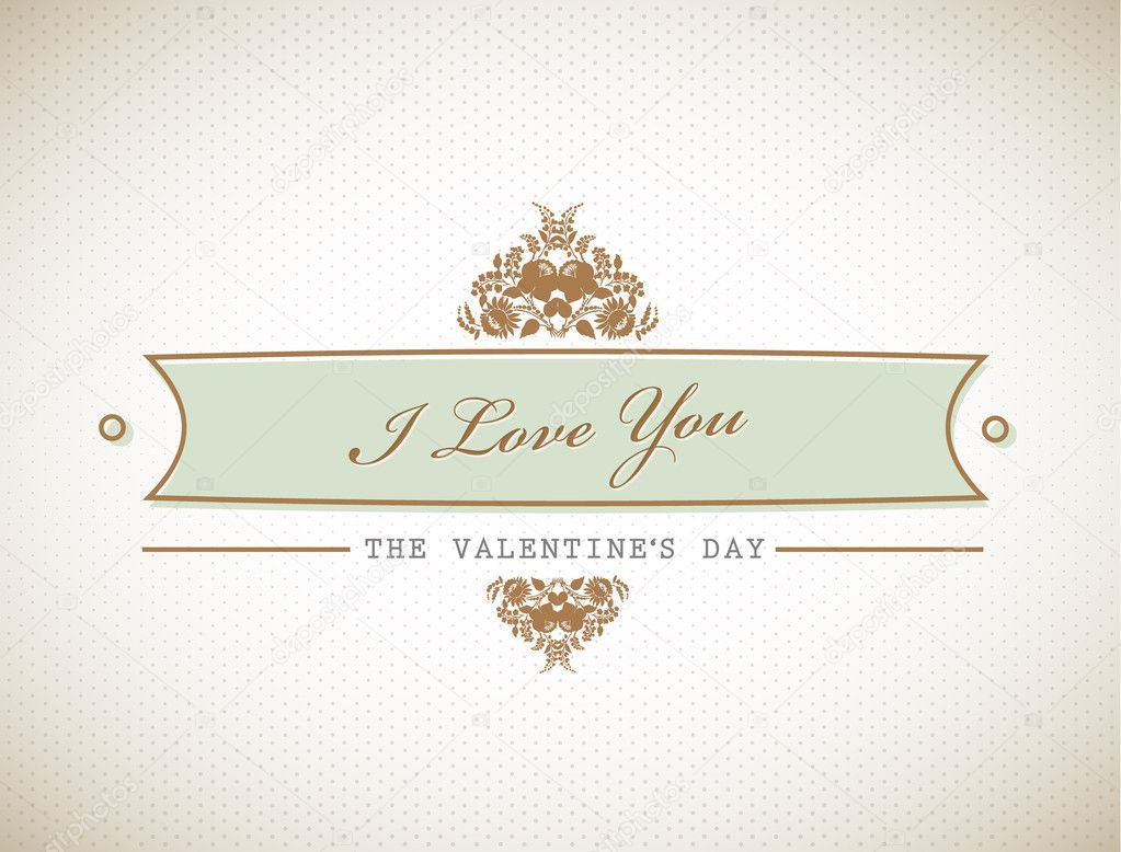 Old stylish Valentine's sign.  — Stock Vector #6360591