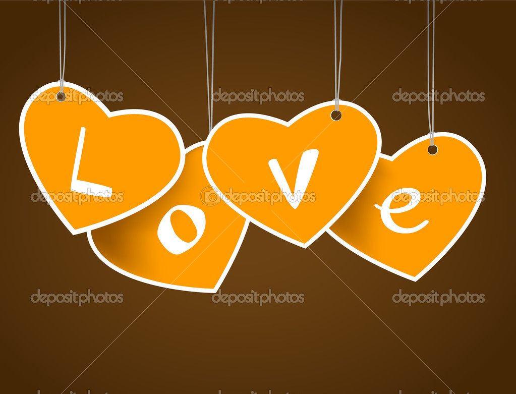 Hanging hearts with love signature. — Stock Vector #6360593