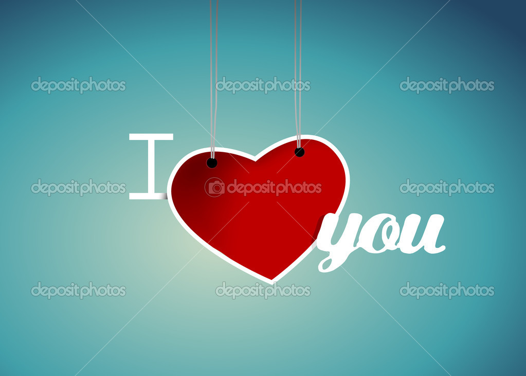 Valentine heart hanging label. — Stock Vector #6360596