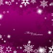 Christmas purple background with snow flakes. — Vector de stock