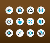 Set of black and blue icons. Vector — Stock Vector