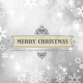 Christmas silver background with snow flakes. — Stock Vector