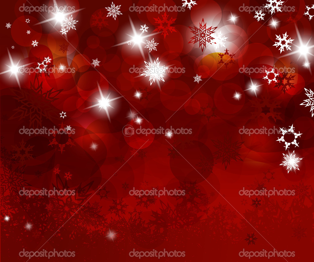 Christmas red background with snow flakes. — Stock Vector #6378360