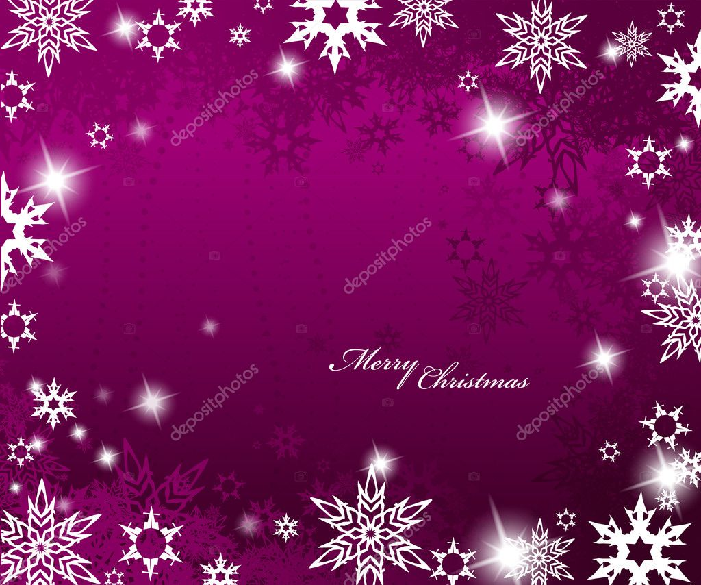 Christmas purple background with snow flakes. — Vektorgrafik #6378412