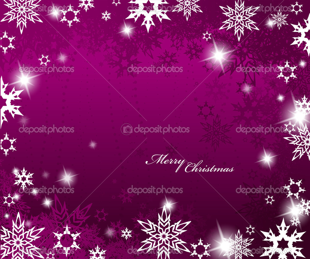 Christmas purple background with snow flakes. — Stock Vector #6378412