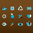 Set of black and blue icons. Vector — Stock Vector #6386580