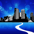 City scape with reflection in water and blue sky. — Vector de stock #6389782
