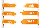 Set of orange sale labels. — Cтоковый вектор
