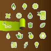 набор иконок экологии на коричневой бумаге. — Cтоковый вектор