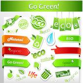 緑色のエコロジー アイコンを設定. — ストックベクタ