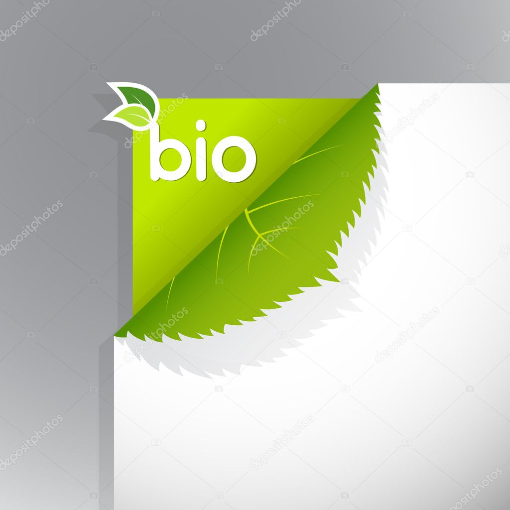 Corner on paper with bio sign. — Stock Vector #6386169