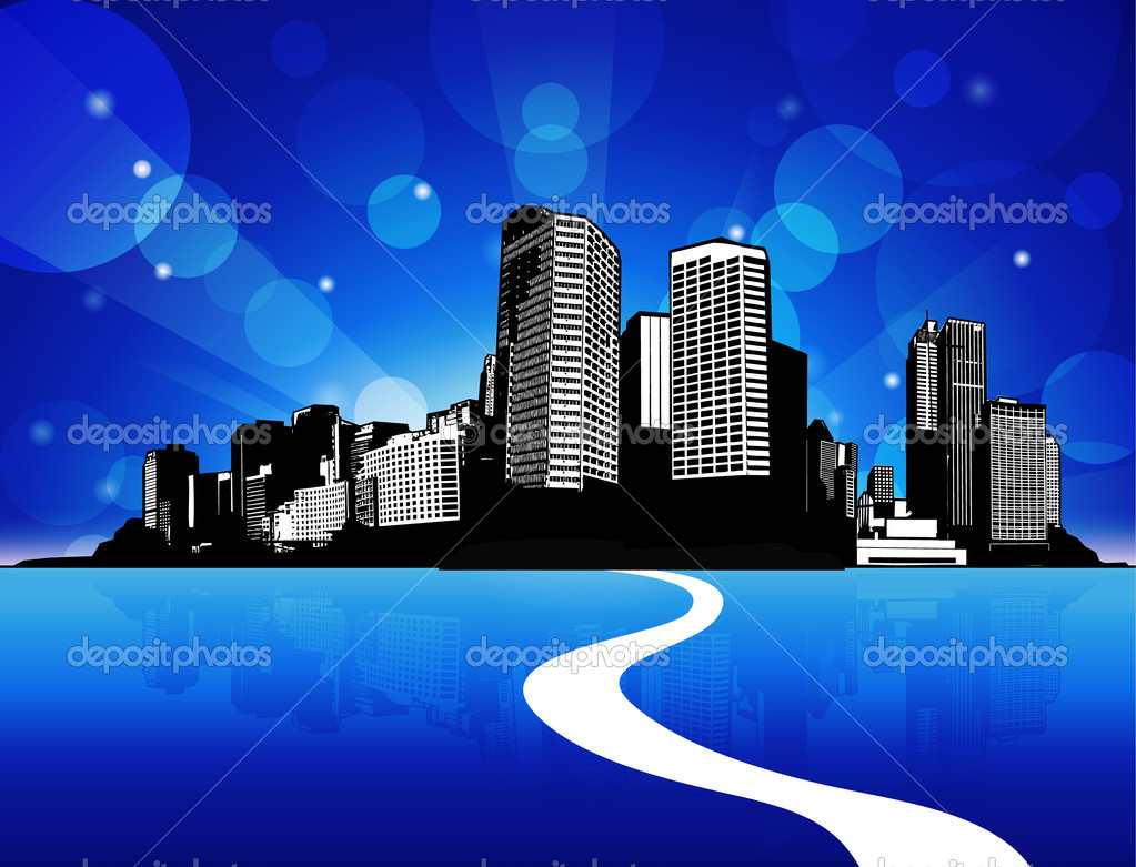 City scape with reflection in water and blue sky. — Stock Vector #6389782