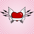 Red heart on pink background. Vector art. — Stock Vector