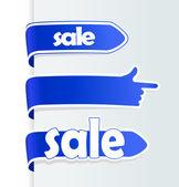 Červený prodej šipek a prst ukazující směr. — Stock vektor